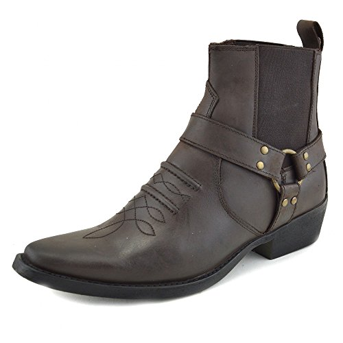 Mens Cowboy Leather Ankle Boots Biker Boots Brown - 2