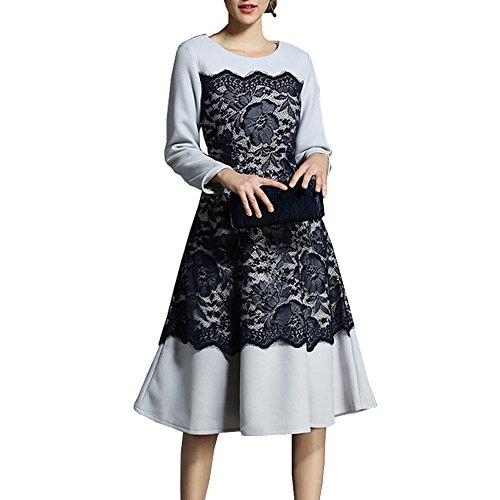 Kleider YL13609 Langarm Cocktailkleid Spitze Cocktail Hohl DISSA Partykleid Midi Schwarz Kleid Reine Damen Aawnzdq