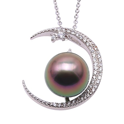 JYX Pearl Moon Pendant Necklace AAA Quality 11.5mm Round Tahitian Cultured Pearl Pendant Necklace For - Necklace Tahitian Pearl Aaa