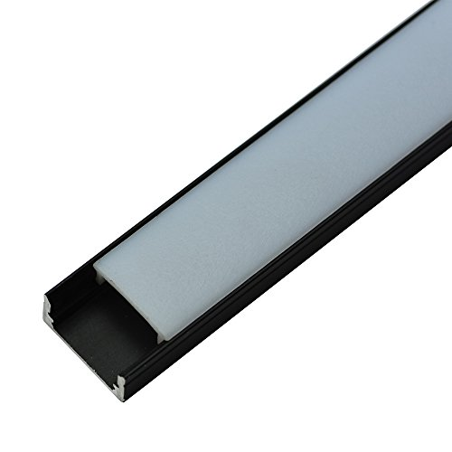 BrightRoom U-Shape Black LED Aluminium Channel 3.3ft/1Meter with End Caps and Mounting Clips for <12.2mm/0.48inch Width LED Strip Light Mounting 5-Pack by BrightRoom (Image #2)