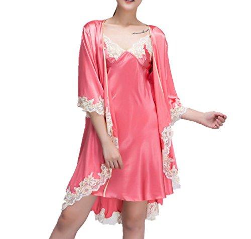 Sra Tirantes De Seda Atractivas De Los Pijamas Camisones Creativas WatermelonRed