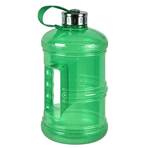 3 Liter BPA Free Reusable Plastic Drinking Water Bottle Jug Container w/ Hand Holder Canteen and Stainless Steel Cap - Green