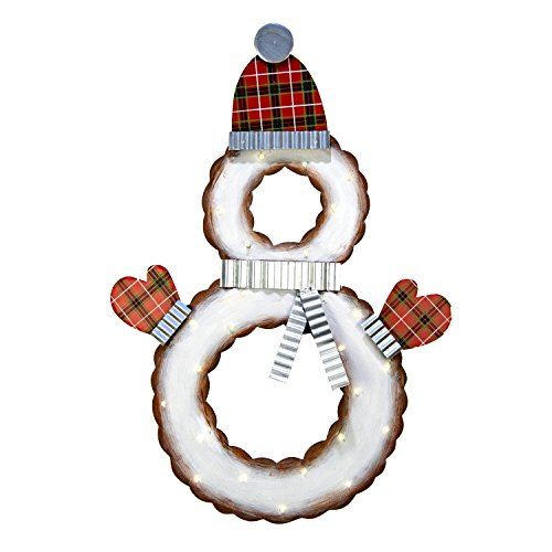 The Round Top Collection Plaid Snowman Wreath - Metal ()