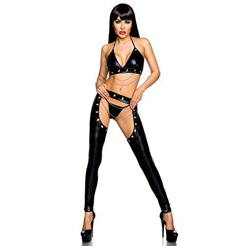 Yzwen Women's PVC Leather Wet Look Open Crotch Butt Artificial Leather Zipper Skinny Long Legged Costumes Game Uniforms Trousers Hot Pants Stage Nightclub Costume Catsuit,M]()
