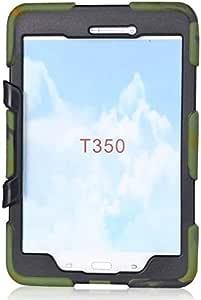 غطاء واقي للصدمات بتصميم درع عسكري مع حامل لهواتف سامسونج جالكسي تاب 8.0 انش T350 - تمويه