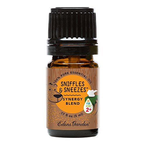 Sniffles & Sneezes OK For Kids Synergy Blend Essential Oil by Edens Garden - 5 ml (Silver Fir Cedarwood Pine Spruce Sweet Orange and Lavender for Cough Cold Allergies and Congestion)