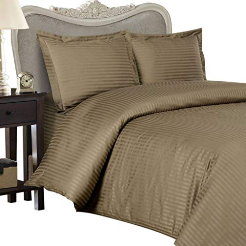 (4 Piece LUXURIOUS 1500 Thread Count CAL KING Size Goose Down Alternative Comforter SET 100% EGYPTIAN COTTON, TAUPE Stripe Color, 1500 TC - 750FP - 50Oz.)