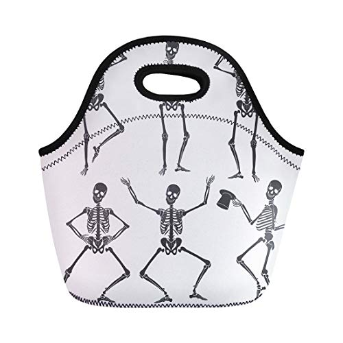 Semtomn Neoprene Lunch Tote Bag Human Dancing Skeletons Different Poses Scary Funny Party People Reusable Cooler Bags Insulated Thermal Picnic Handbag for Travel,School,Outdoors, Work]()