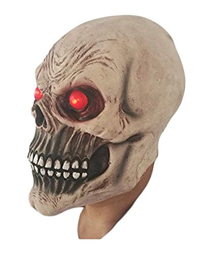 LED Skull Mask by Rubber Johnnies , Red Light Up Eyes , Bond Masks (Skeletor Mask)