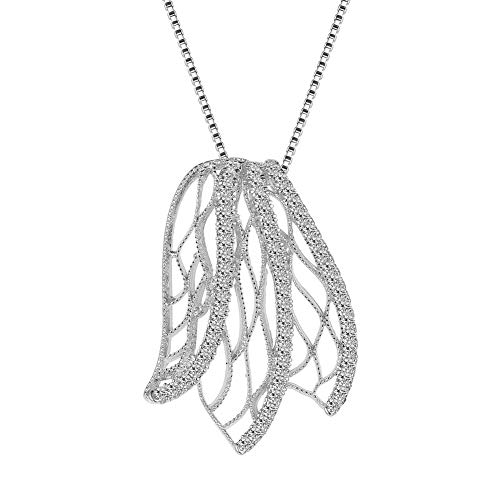 SKA Jewelry Leaf Necklace for Girls Women Cubic Zirconia Butterfly Wings Pendant Necklace Art Deco Adjustable 20 White Gold Plated
