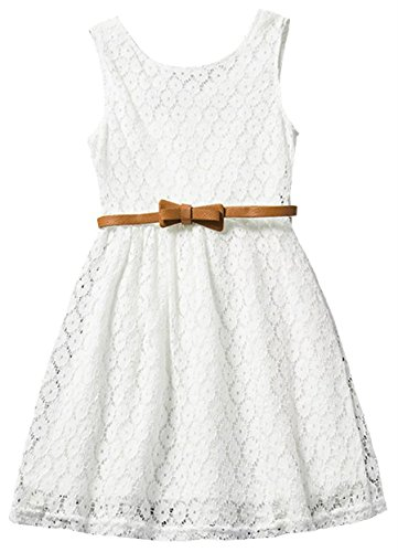 Girls Sleeveless Floral Crochet Lace Party Princess Beach Casual Dress, White, 6-7 Years