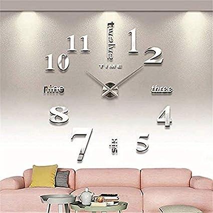 Reloj De Pared De La Plata DIY Reloj Moderno Del Diseño 3D Para La Decoración Casera