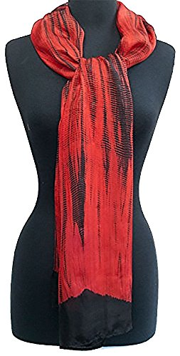 Hand-Dyed, Shibori Scarf. Silk Chiffon. 72