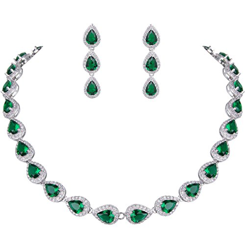 EVER FAITH Women's Full CZ Elegant Teardrop Necklace Earrings Set Green ()