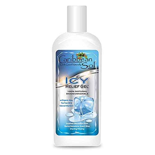 Caribbean Sol Icy Relief Gel 6 oz Burns, Abrasions, Cuts, Big Bites, Muscle Spasm, Waxing and Shaving, Organic Aloe, Tea Tree Oil Vitamin E 100% Natural Reef Marine Safe 0061 Botanical Solutions Bite Guard