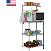 YAONIEO 3 Tires Multi-functional Kitchen Bakers Rack Microwave Cart Storage Workstation Ship from US 21.7 L × 13.8 W × 47.2 H
