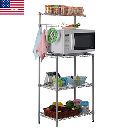 YAONIEO 3 Tiers Kitchen Baker's Rack Microwave Cart Storage Workstation Kitchen Shelving Unit 21.7'' L × 13.8'' W × 47.2'' H, Silver Grey by YAONIEO