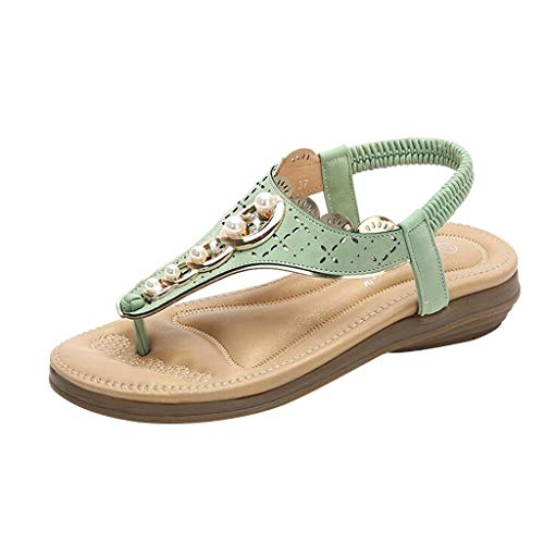 (Aunimeifly Women's Ethnic Style T-Strap Clip Toes Sandals Pearl Casual Beach Slippers Roma Flat Shoes Green)