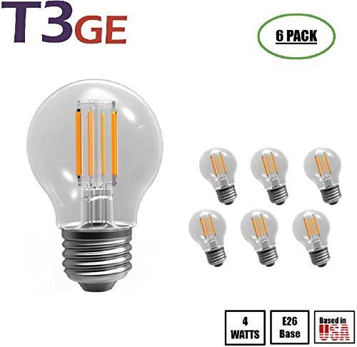T3 Green Energy Vintage Edison Bulb Dimmable G16.5 4W (60W Equivalent) 400 Lumen 2700K (Warm White) LED Filament Bulb Medium Base E26 CRI 85+ 110-130v UL-Listed (6 Pack)