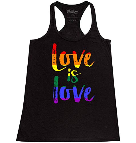Shop4Ever Love is Love Women's Racerback Tank Top Gay Pride Tank Tops Medium Heather Black 0 (Top Tank Womens Love)