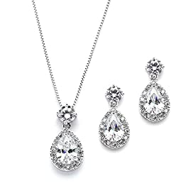 Mariell Pear Shaped CZ Teardrop Necklace and Earrings Set – Wedding Jewelry for Brides & Bridesmaids