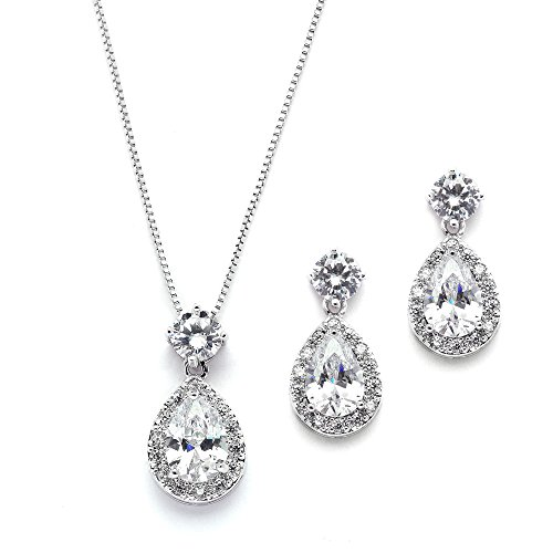 Mariell Pear Shaped CZ Teardrop Necklace and Earrings Set - Wedding Jewelry for Brides & Bridesmaids