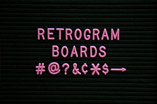 Vintage Felt Changeable Letter Board: Letters- 150 ¾ Inch Helvetica Pink Letters, Numbers and Punctuation