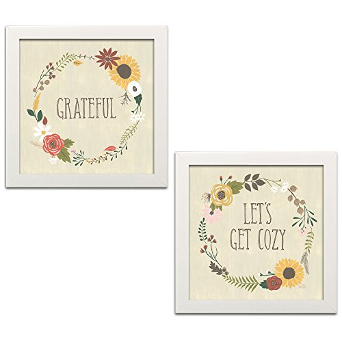 Gango Home Decor Cottage Autumn Garden Grateful & Lets Get Cozy by Laura Marshall (Ready to Hang); Two 12x12in White Framed Prints