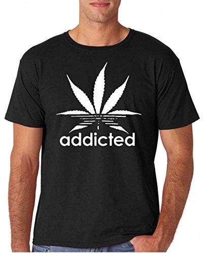 Adult Addicted Weed Stoners T Shirt Large Black