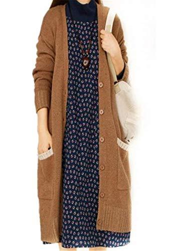 Breasted A Tasche Giacca Single Donna Cappotto Retro Giovane Maglia Lunga Moda Manica Casual Primaverile Outerwear Autunno Cardigan Bildfarbe Elegante Con S4qqwZ