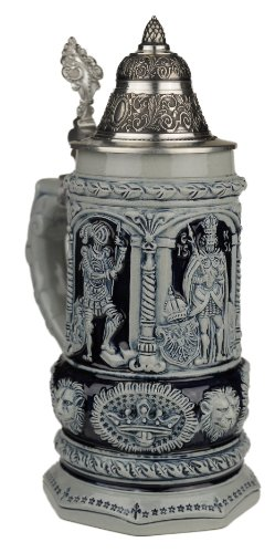 History Stein Beer (Beer Steins By King - Thewalt 1893 Stein Of Kings Relief German Stein (Beer Mug) 0.75l Limited)