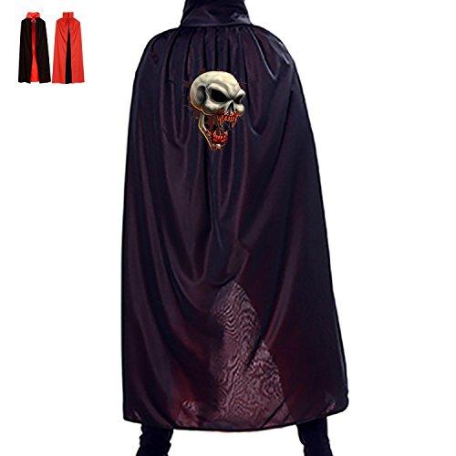 [Red Teeth Skull Custom Made Black Vampire Cape] (Custom Made Superhero Costumes For Sale)