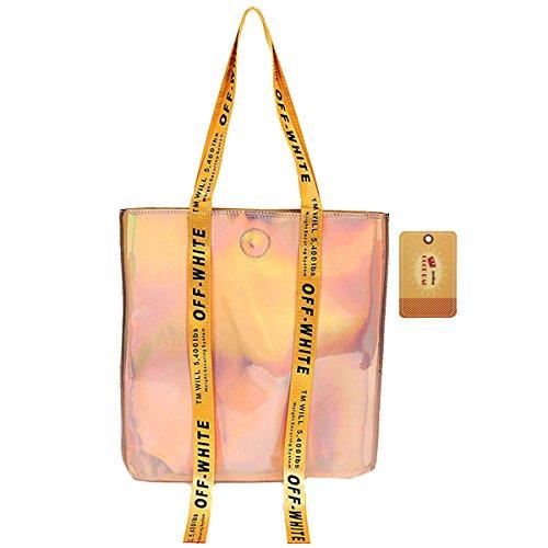 Travel Women Girl Boutique Large Pink Goodbag Bag Waterproof Clear Bag Beach Capacity Shoulder Hologram FHgqw