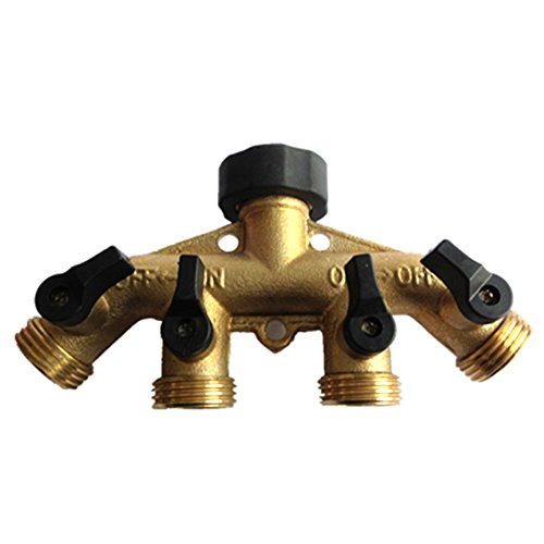 LoveQmall Brass 4 Way Hose Shut Off Connector,Garden Tap Hose Adapter with Comfort Grip Brass 4 Way Hose