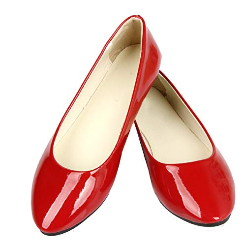 DeerYou Women Ballet Flats Pointy Toe Slip On Comfort Classic Ballerina Walking Shoes Patent Red US 7 ()