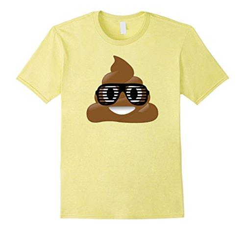 Men's Poop Emoji Shirt Shutter Shades Cool Poo With 80s Glasses Medium - Yellow Shutter Shades