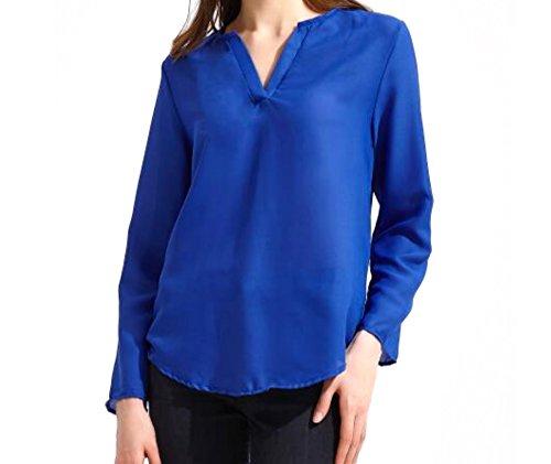 Mousseline Shirt Longues WSLCN en Dcontract Sapphire Chemise Dentelle Blouse Plage Manches Cou Femme V Top qaqPFxYtng