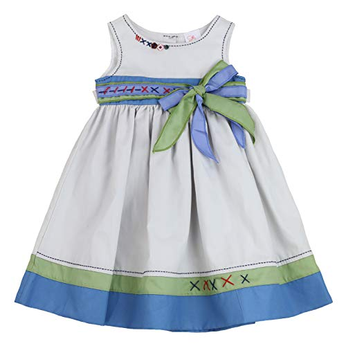 THE SILLY SISSY - Toddlers and Girls Willow Rays Bow-Accent Dress in Soft Gray 4T