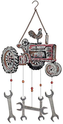 (Sunset Vista Designs 92447 Farm Tractor and Wrench Metal Wind Chime, Galvanized Red)