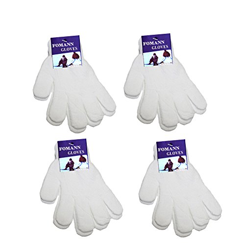 FoMann Kids Magic Gloves Children Knit Gloves Wholesale 12 Pairs(7 to 16 years) (White) (White Gloves Kids)