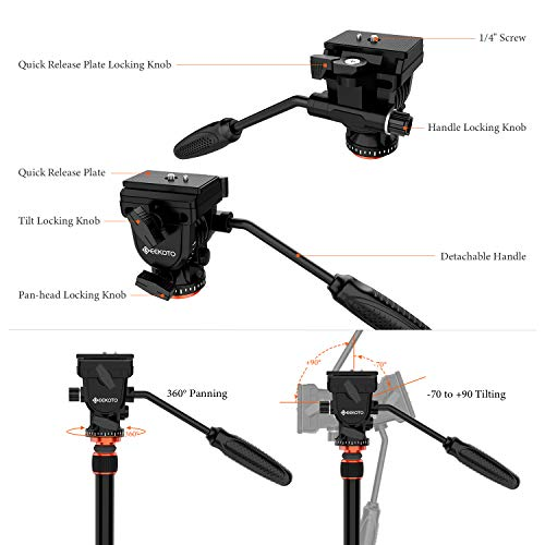 "GEEKOTO Video Tripod Fluid Head,Professional Camera Tripod for DSLR,Monopod Aluminum 77"" for Video Camcorder Canon Nikon Sony with 1/4"" Screws Fluid Drag Pan Head,Load Capacity up to 20 Pounds"