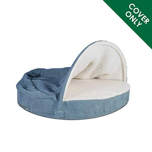 Furhaven Pet Dog Bed Cover | Round Cuddle Nest Faux Sheepskin Snuggery Blanket Burrow Pet Bed Replacement Cover for Dogs & Cats, Blue, 35-Inch