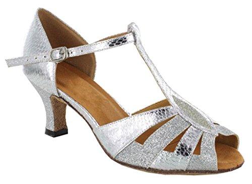 (TDA Women's Wonderful High Flared Heel Snakeskin Grain Glitter Silver Patent Leather Salsa Tango Ballroom Latin T-Strap Dance Sandals 9.5 M US)