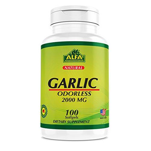 Garlic (Odorless) 2000 Mg 100 Softgels - Cholesterol and Hearth Support