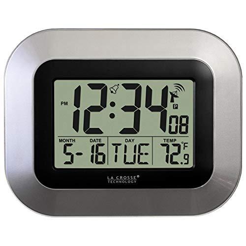 La Crosse Technology WT-8005U-S Atomic Digital Wall Clock with Indoor Temperature, Silver (Renewed)