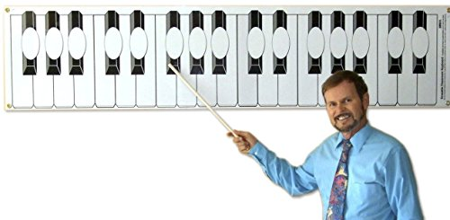 Dry Erase Piano Keyboard Poster for Classroom Lessons (with ovals) by Long Beach Music