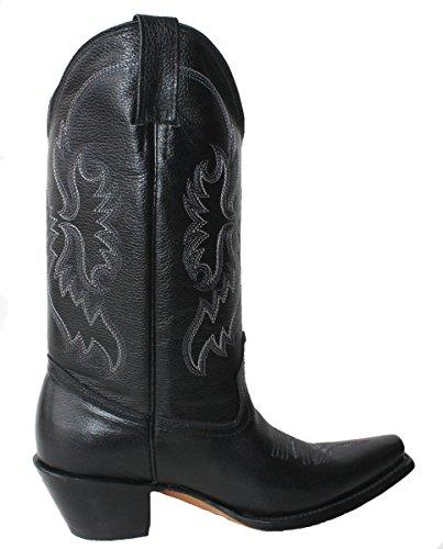 Donna Cowboy Cowgirl Western Stivali Vera Pelle Di Mucca Scarpe Tacco Rodeo A Punta Nera