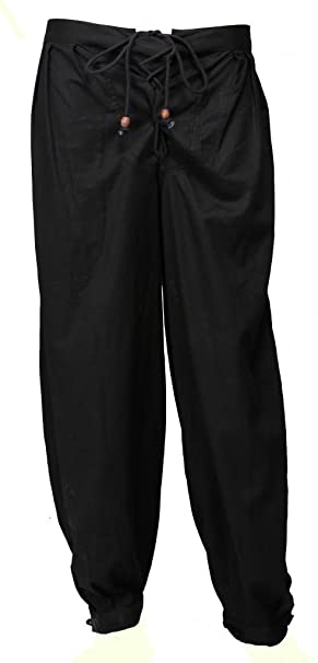 Women's Black Costume Cotton Flax Trouser Lady Pirate Pants by GothikShop