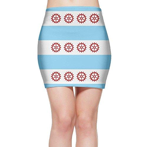 Flag Of Chicago Women Sexy High Waist Bodycon Short Skirt Pencil - Shorts Flag Chicago