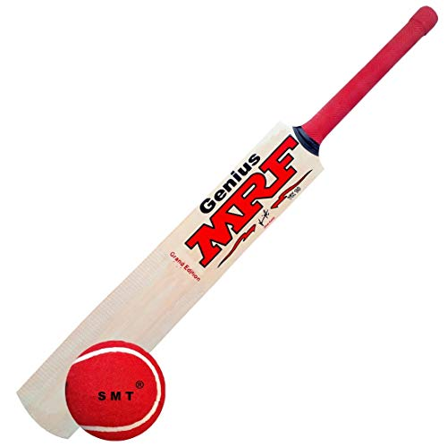 SMT M_F Genius Virat Kohli Popular Willow Cricket Bat with Ball (Full Size)